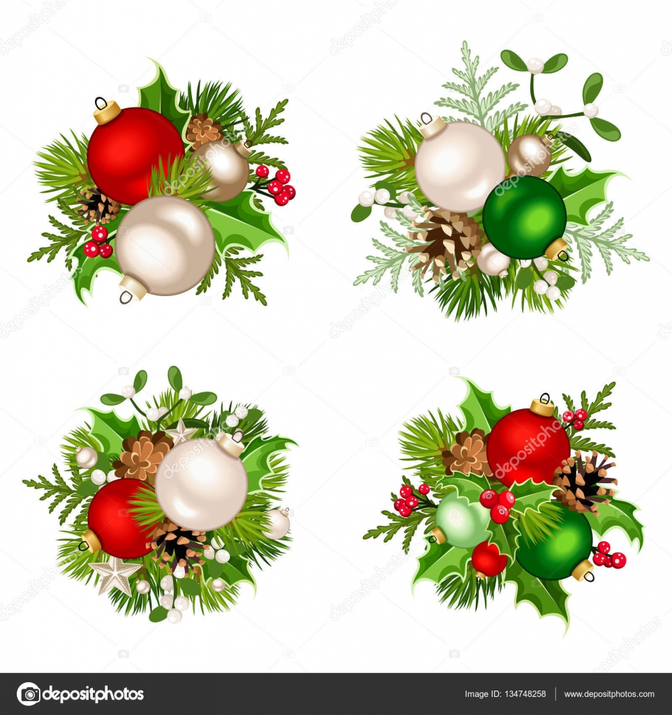Christmas decorations with red, silver and green balls. Vector ...