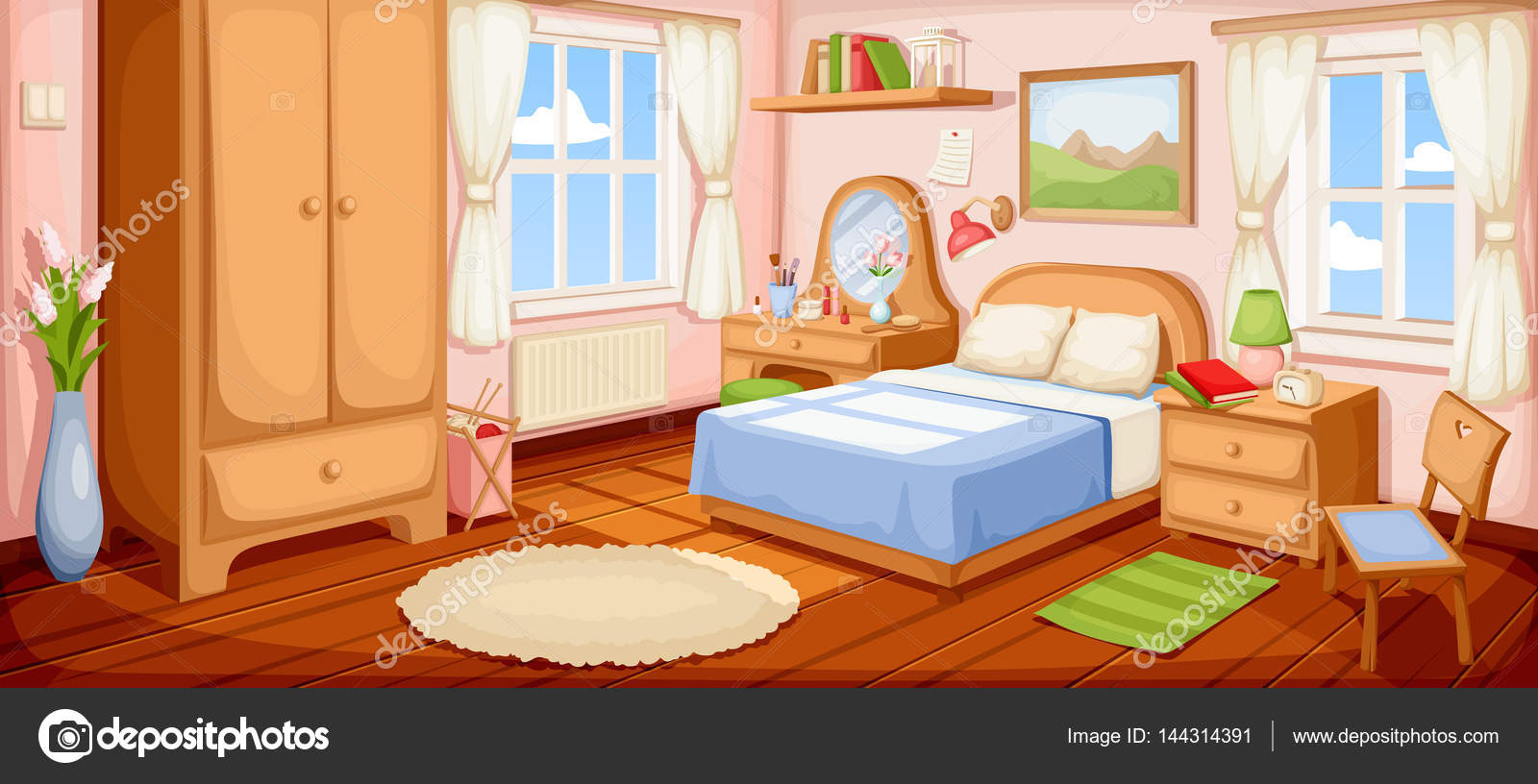 Bedroom Interior Vector Illustration Vector Image By C Naddya Vector Stock 144314391