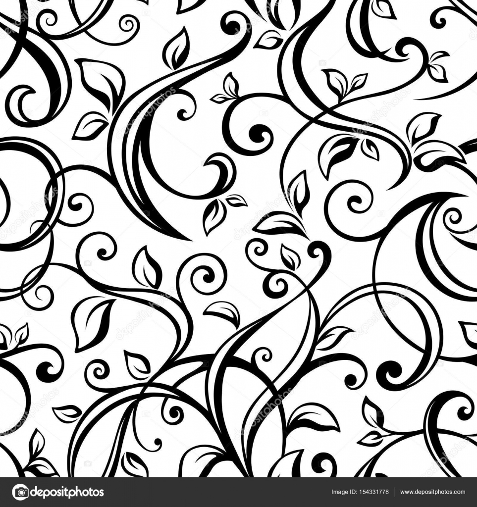 seamless black and white floral pattern vector illustration rh depositphotos com flower pattern vector floral pattern vector illustration