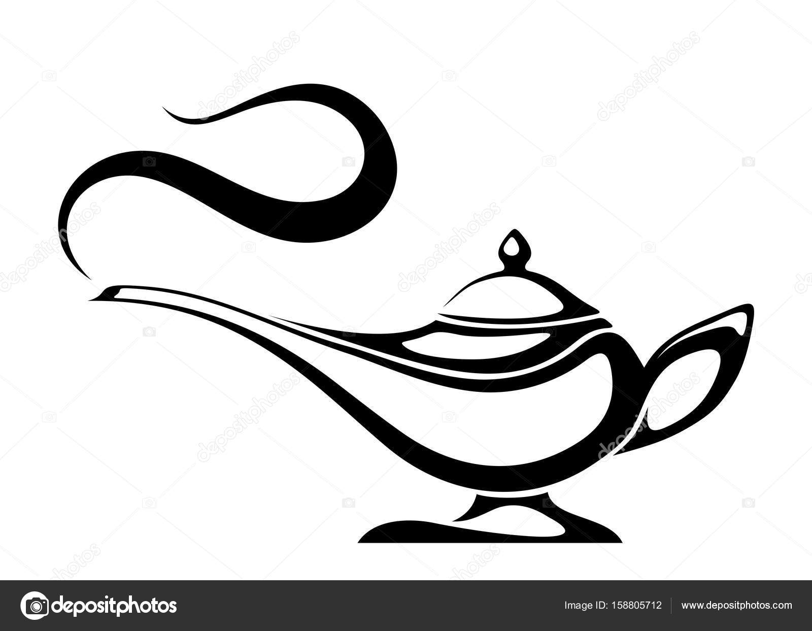 Genie lamp silhouette Stock Vectors, Royalty Free Genie lamp ... for Magic Lamp Drawing  29dqh