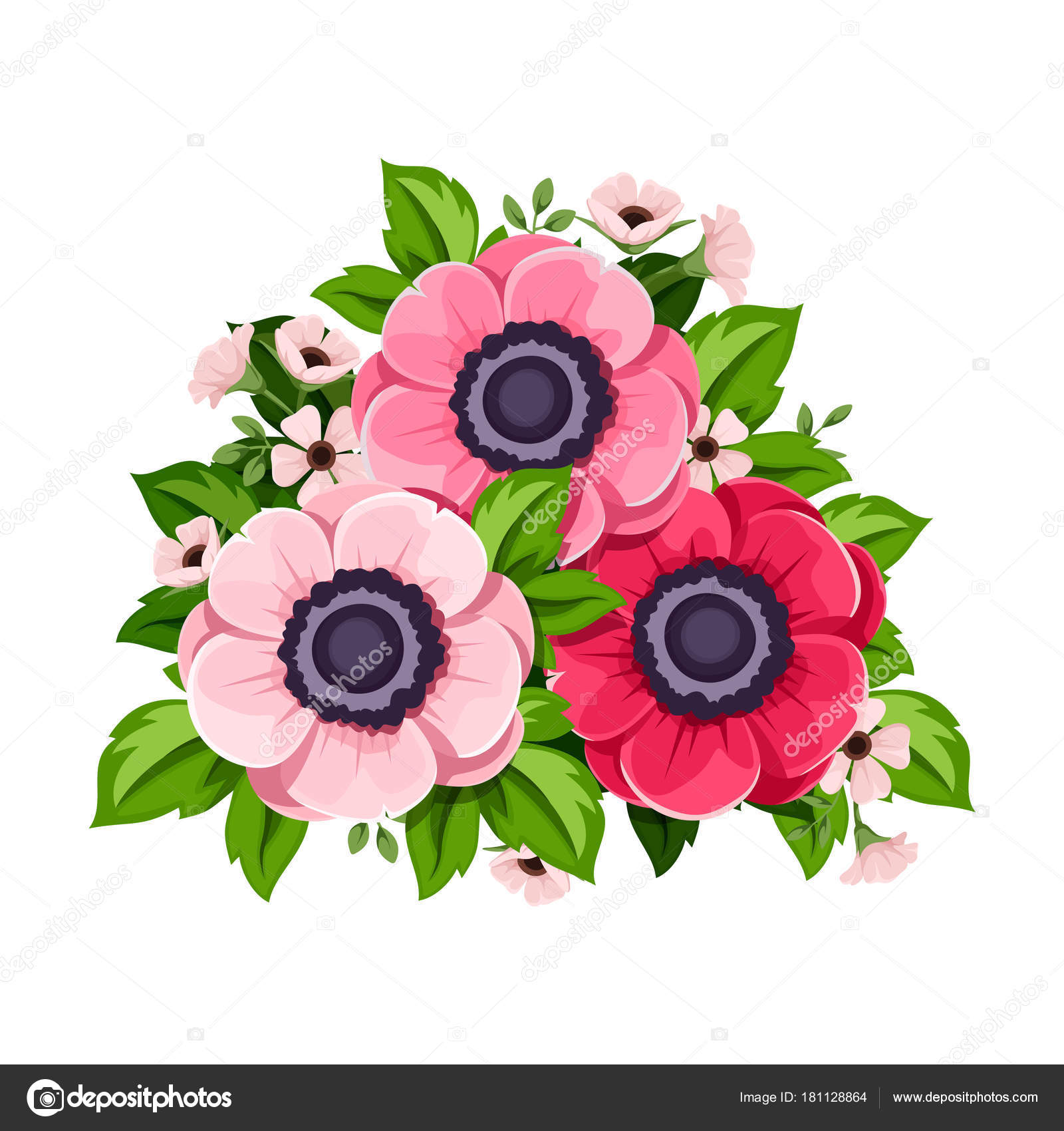 Vector red pink anemone flowers isolated white background stock vector red pink anemone flowers isolated white background stock vector mightylinksfo