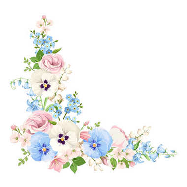 Vector corner background with pink, blue and white spring flowers. stock vector