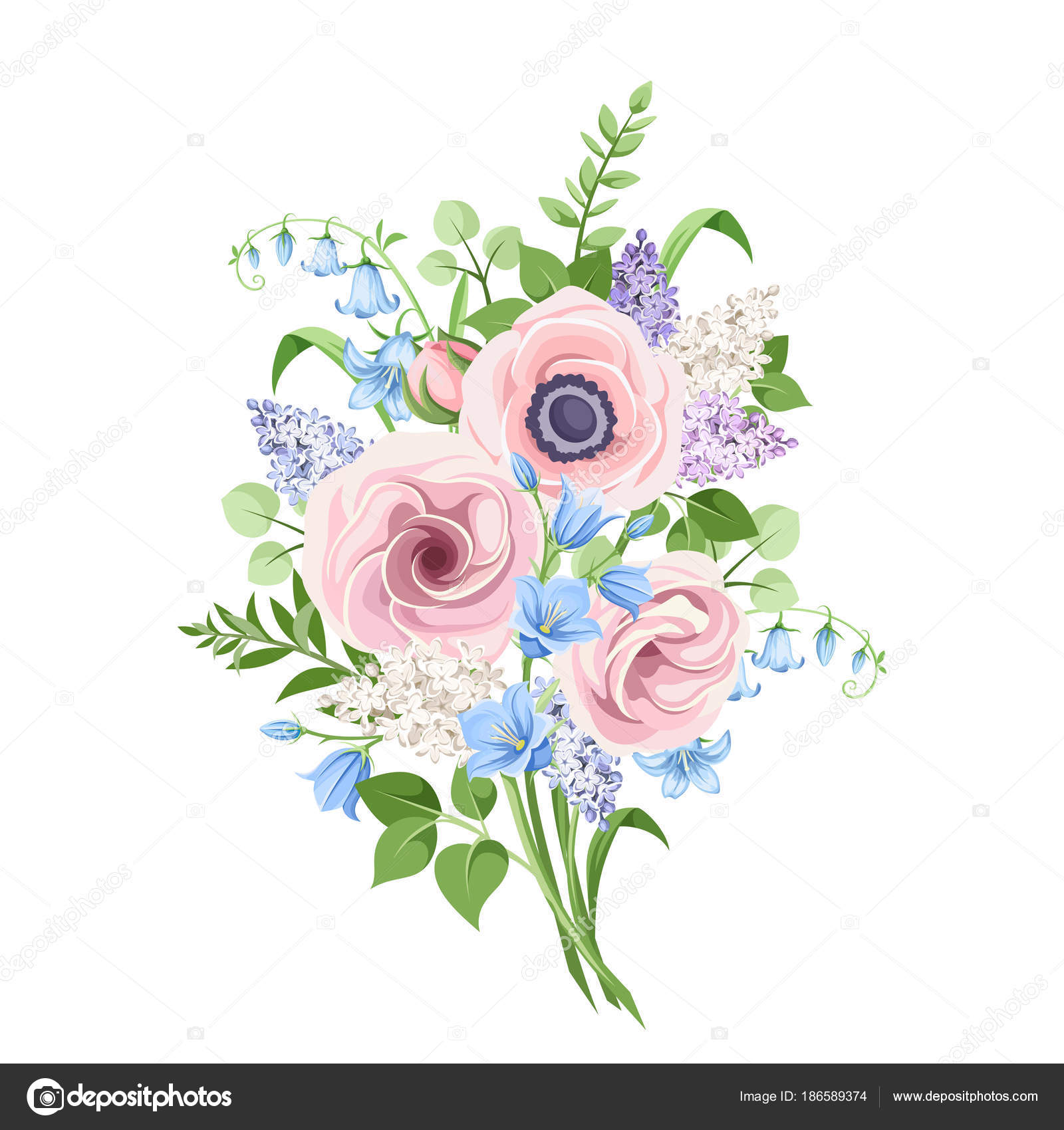 Vector Bouquet Pink Blue Purple Flowers Isolated White Background Stock Vector C Naddya 186589374