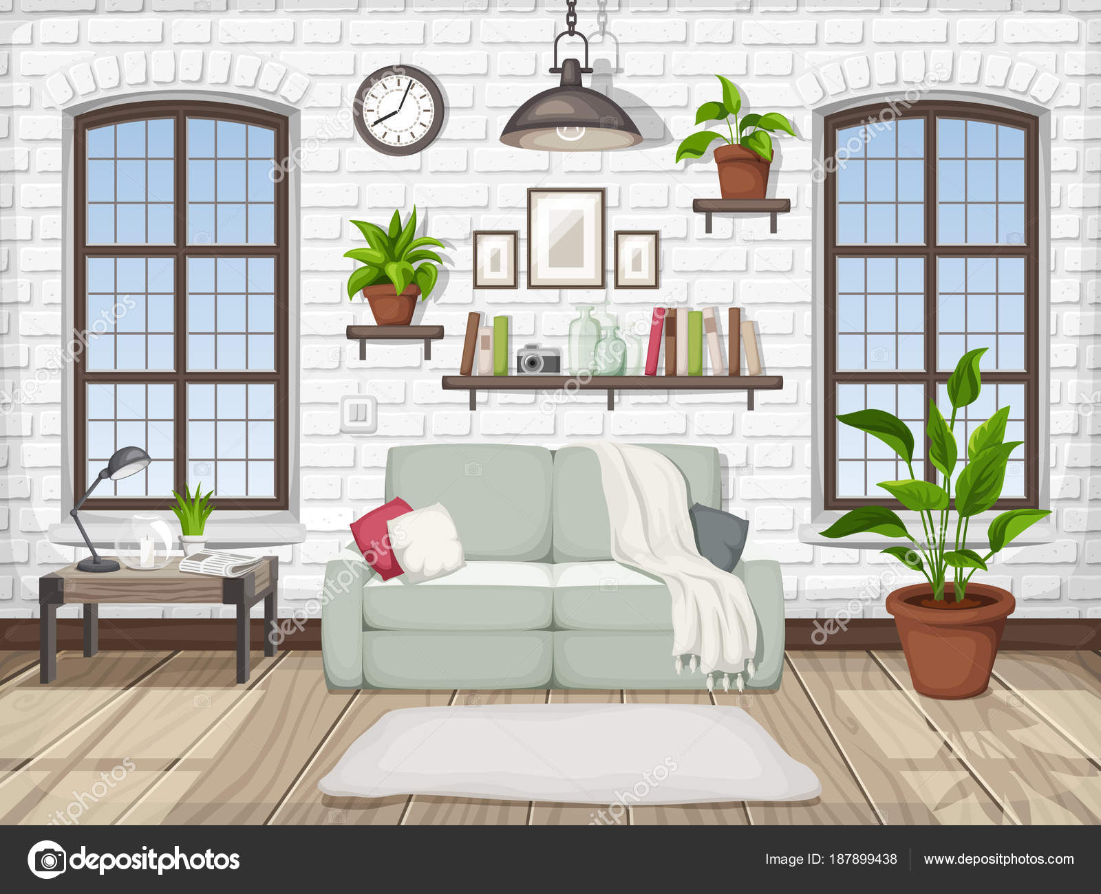 Vector Loft Living Room Interior White Brick Wall Big Windows ...