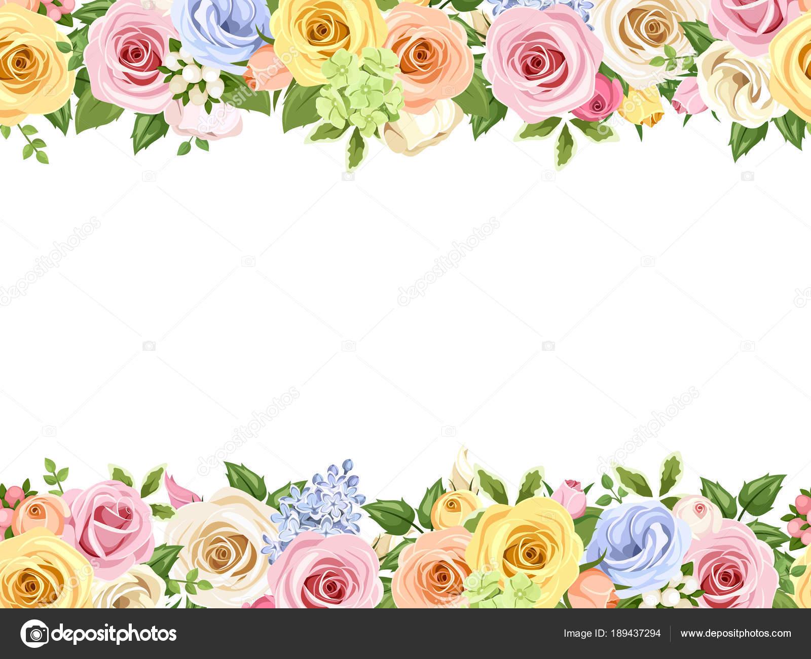 Flores Vectoriales Con Fondo Transparente: Fondo Transparente Horizontal Del Vector Con Flores Rosas