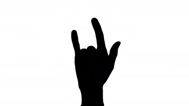 Férfi kéz, a kéz/szarv-szarv gesztus/Ily regisztrál sziluett