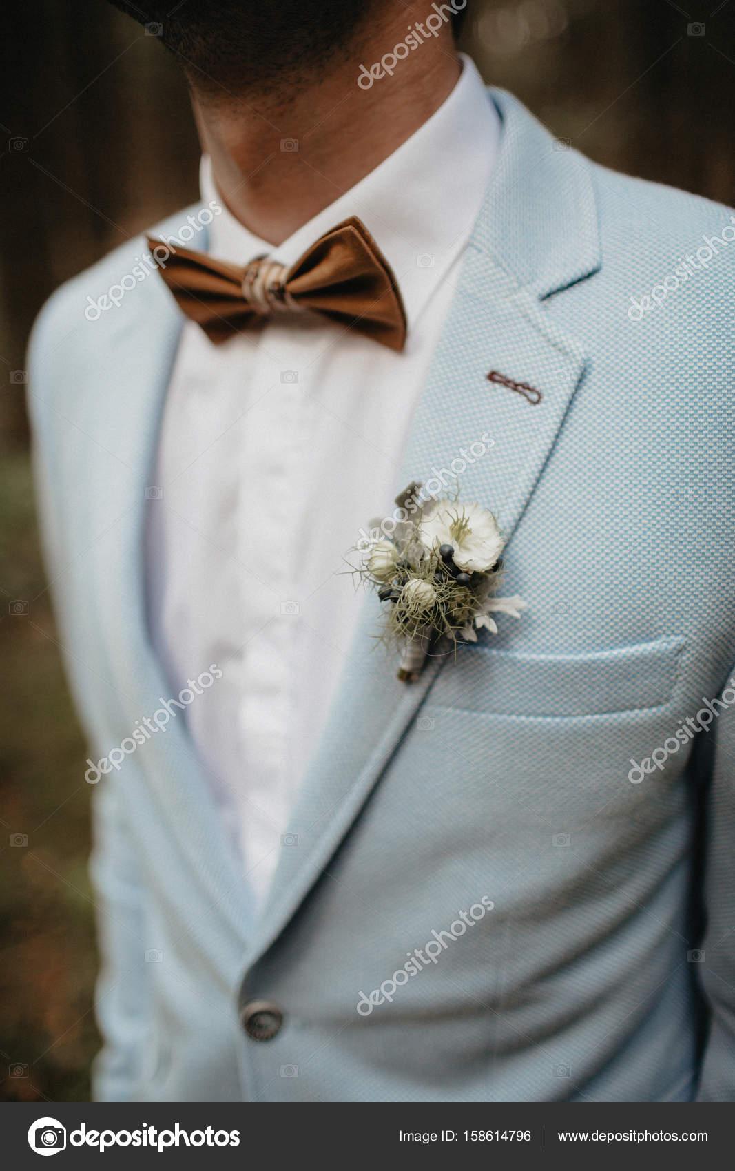 groom in suit with bow tie — Stock Photo © iskraphoto #158614796