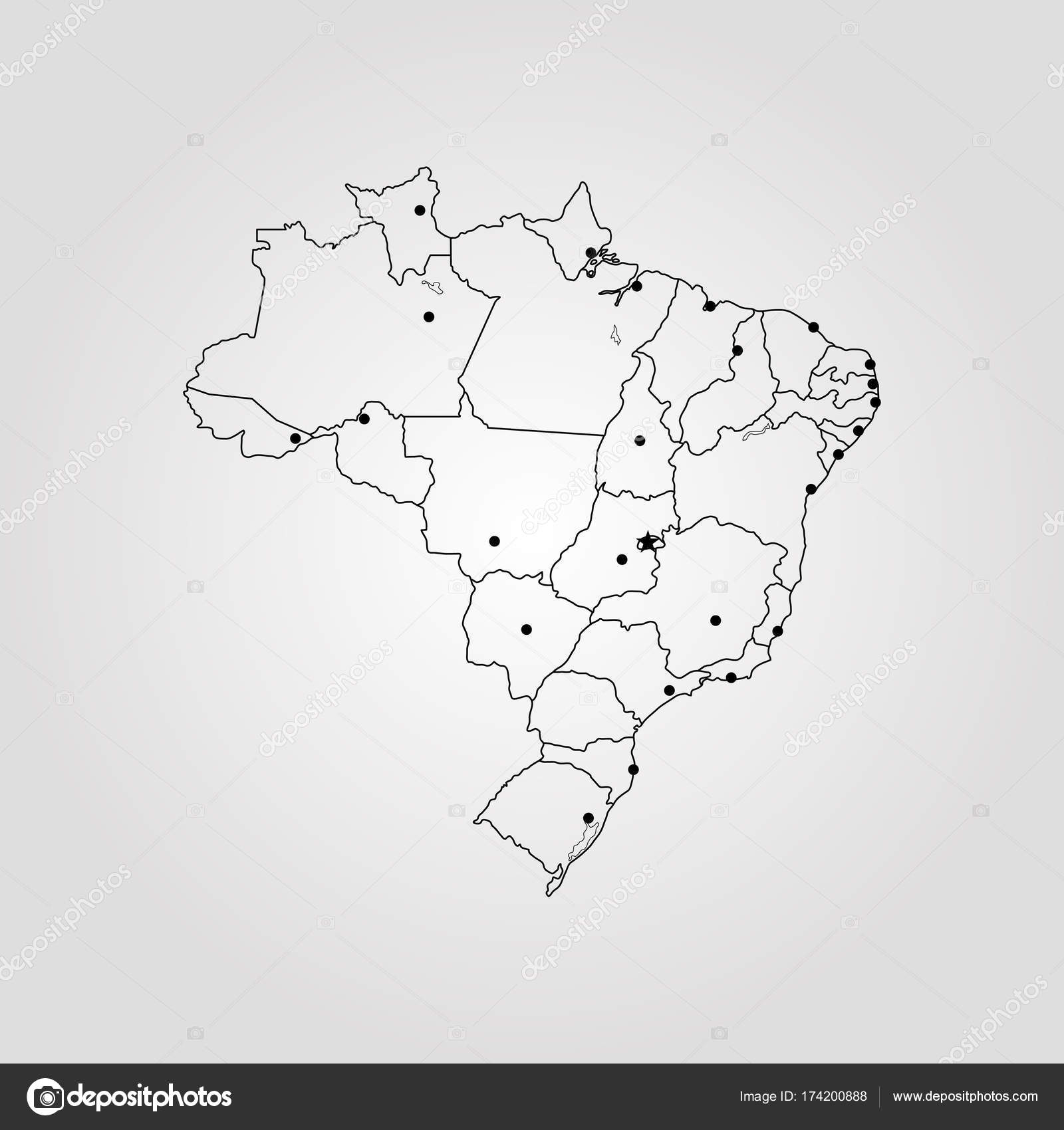Map of brazil stock vector uglegorets 174200888 map of brazil vector illustration world map vector by uglegorets gumiabroncs Choice Image