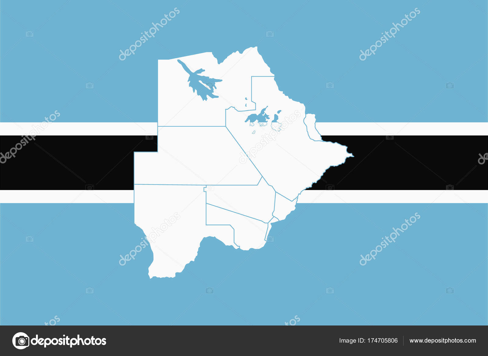 Picture of: Map And Flag Of Botswana Stock Vector C Uglegorets 174705806