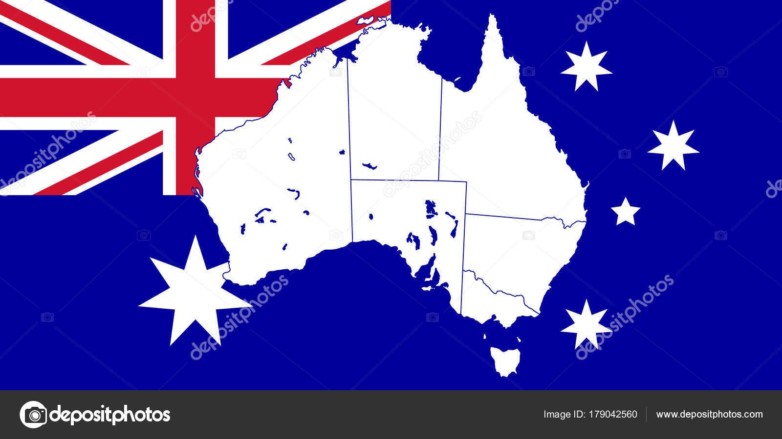Carte Australie Drapeau.Carte Et Drapeau De L Australie Image Vectorielle