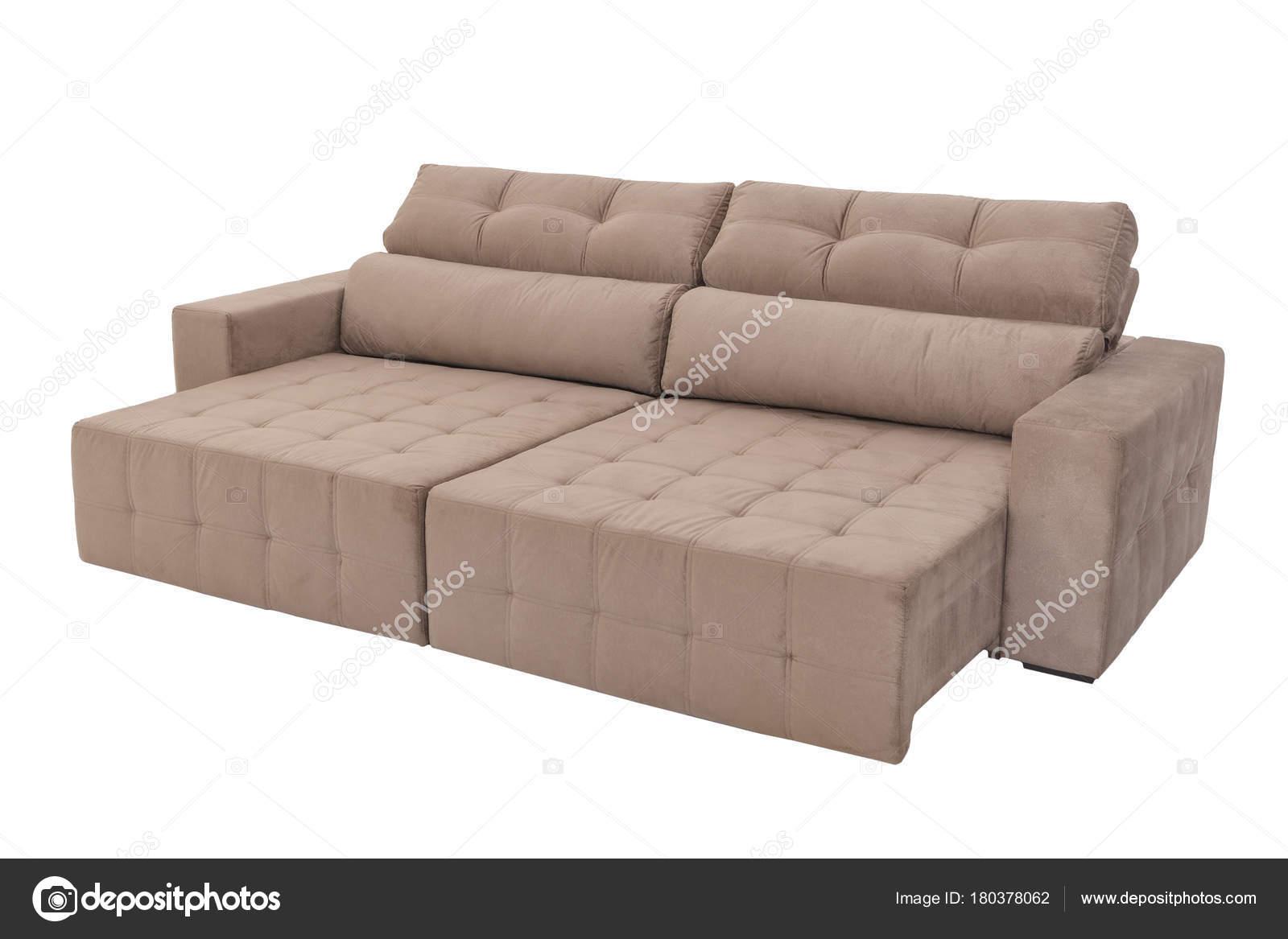 Moderne braune Wildleder Couch Sofa isoliert — Stockfoto ...
