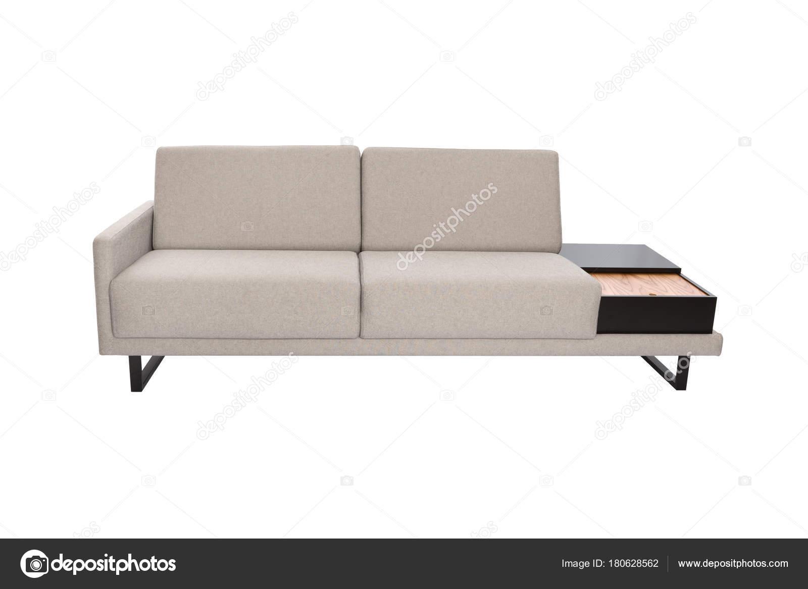 Modernes Sofa Grau Stoff Mit Schwarzen Holz Details Und Isoliert U2014 Stockfoto