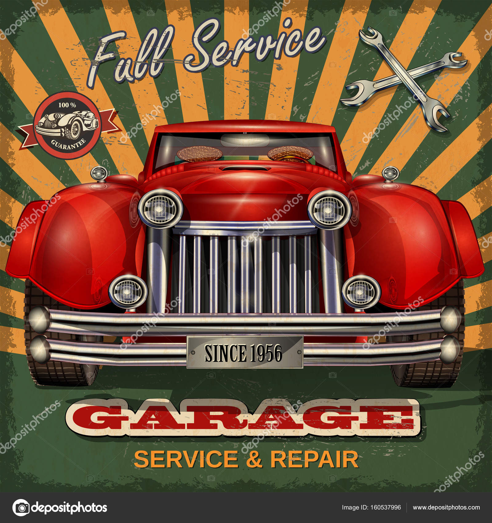 Vintage car service and repair label — Stock Vector © matetcher ...