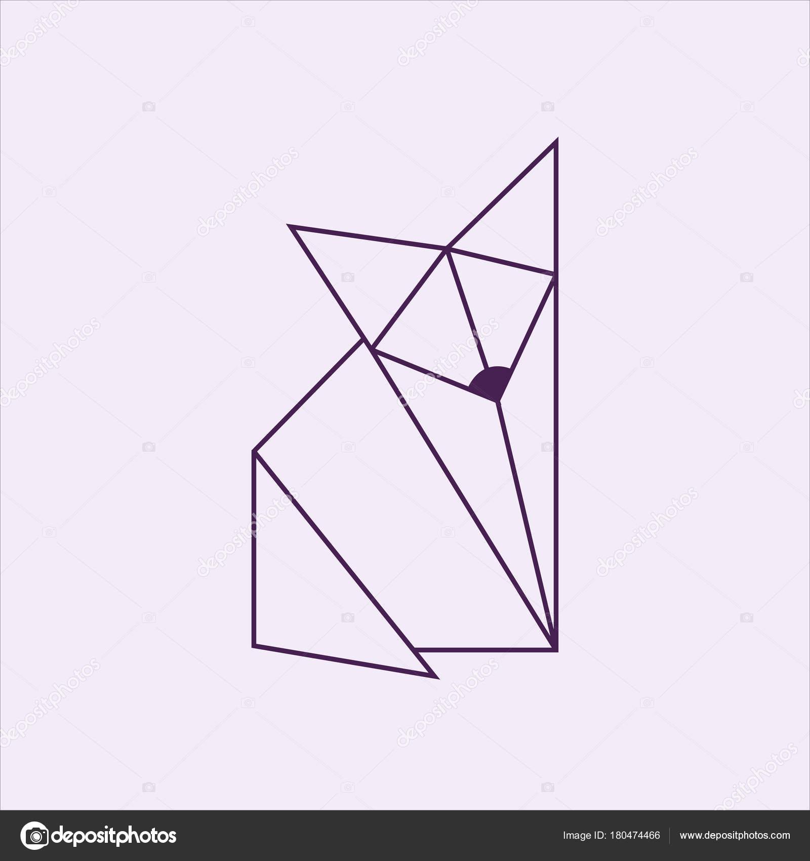 Origami Fox Paper Art Stock Photo