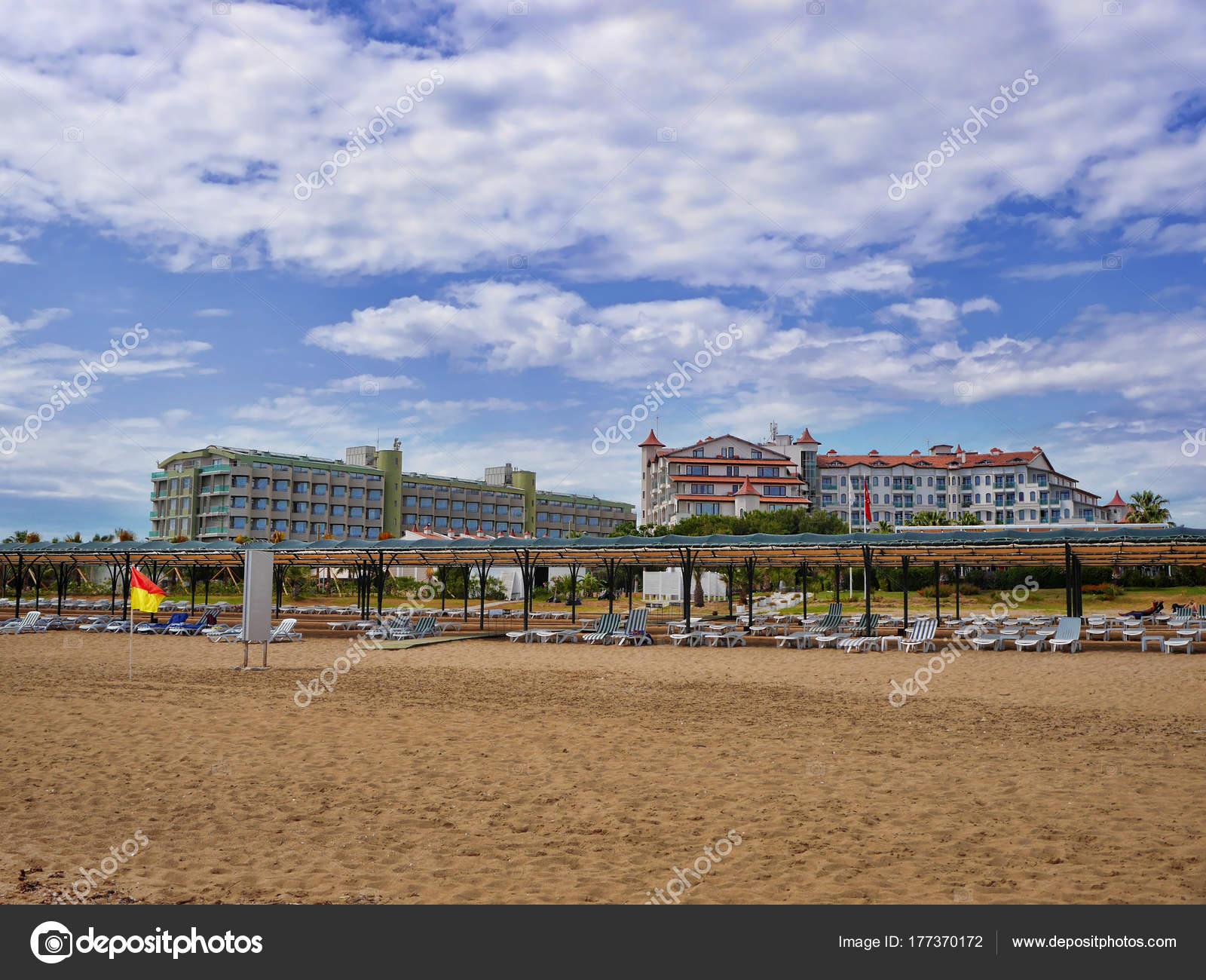 Beach Wit Turkish Hotels Antalya Stock Photo C Advenshot 177370172