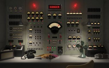 Vintage control room panel with lots of ligths, gauges, knobs and buttons showing danger warnings. stock vector