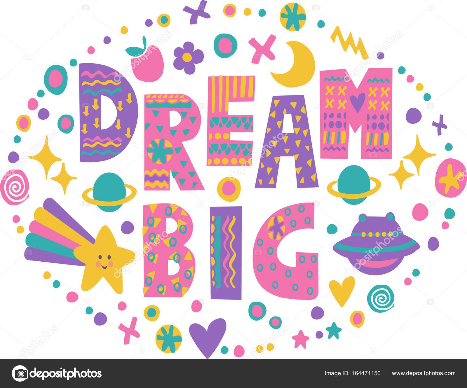 Word Art Dream Big Stock Vector Meowlina Meow 164471150