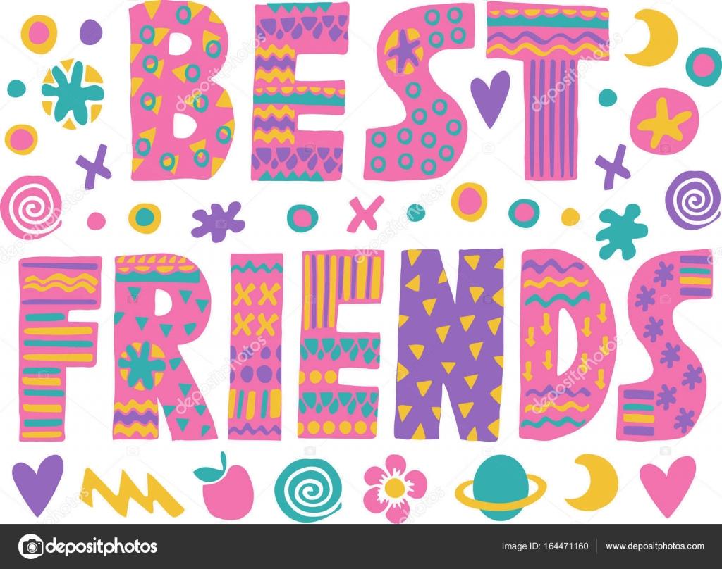 Best Friends Word Art Word Art Best Friends Stock Vector