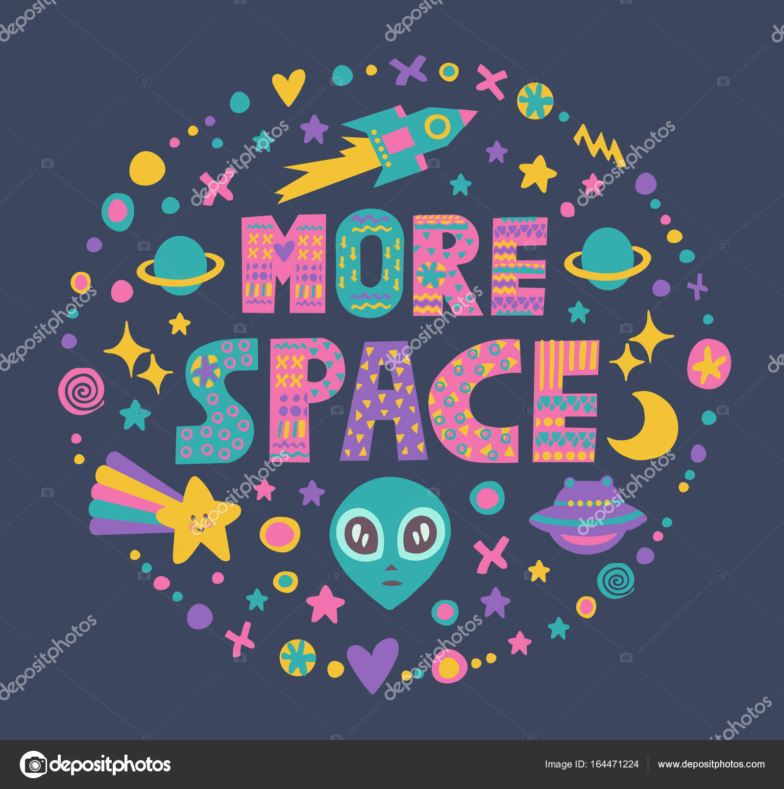 Word Art More Space With Bright Cartoon Decorative ElementsIsolated On Dark BackgroundKids Quote DesignDrawing For Prints T Shirts And Bags Or Poster