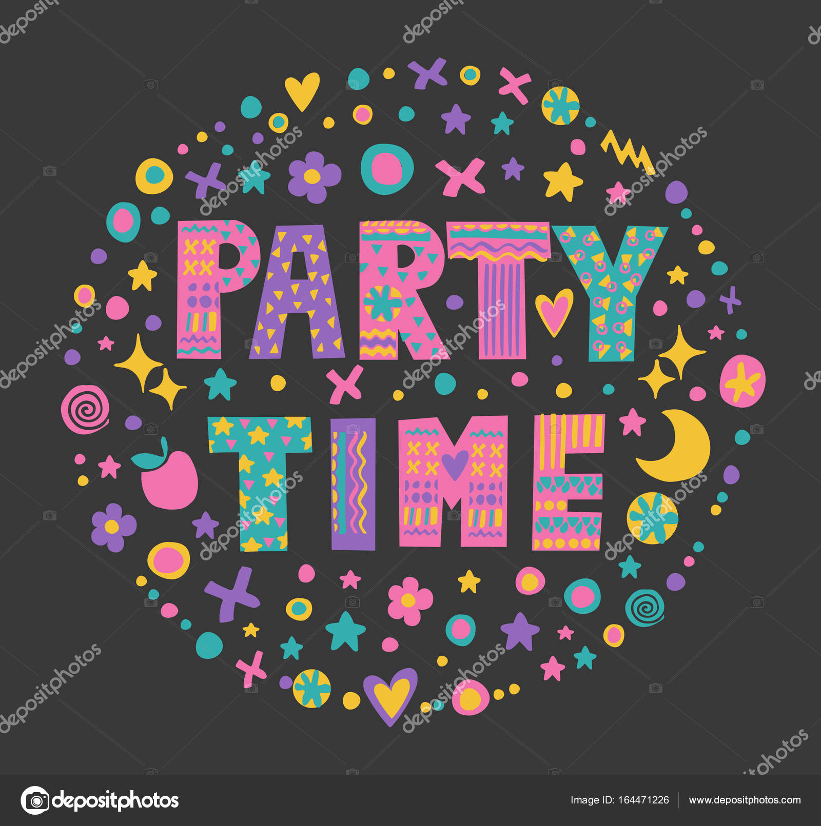 Word Art Party Time Stock Vector Meowlina Meow 164471226