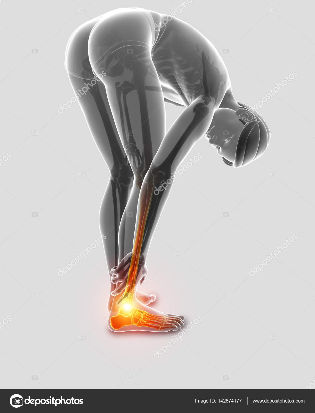 3D Abbildung des männlichen Fuß mit Schmerzen am Sprunggelenk ...