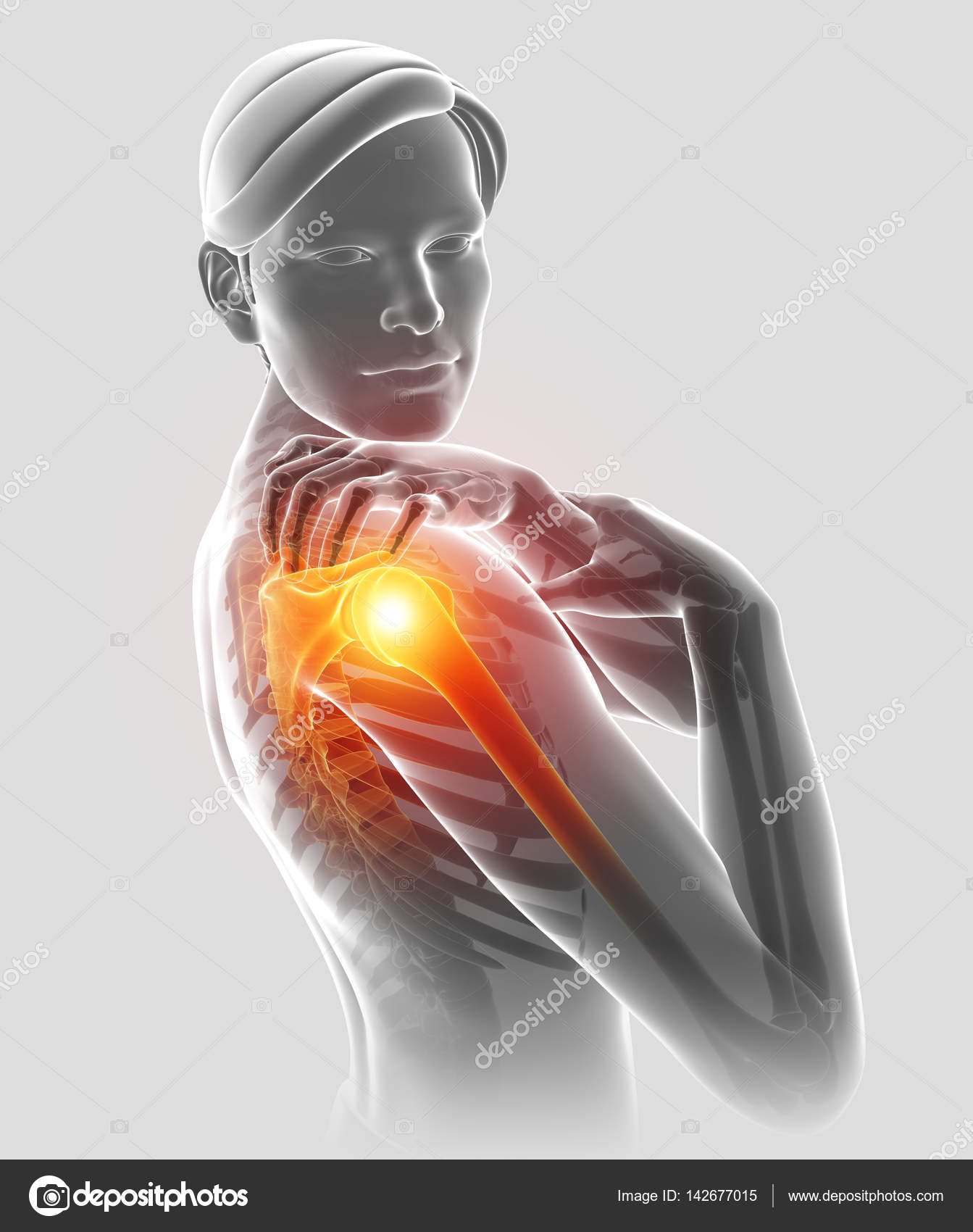 3d Illustration of Male Feeling the Shoulder Pain — Stock Photo ...