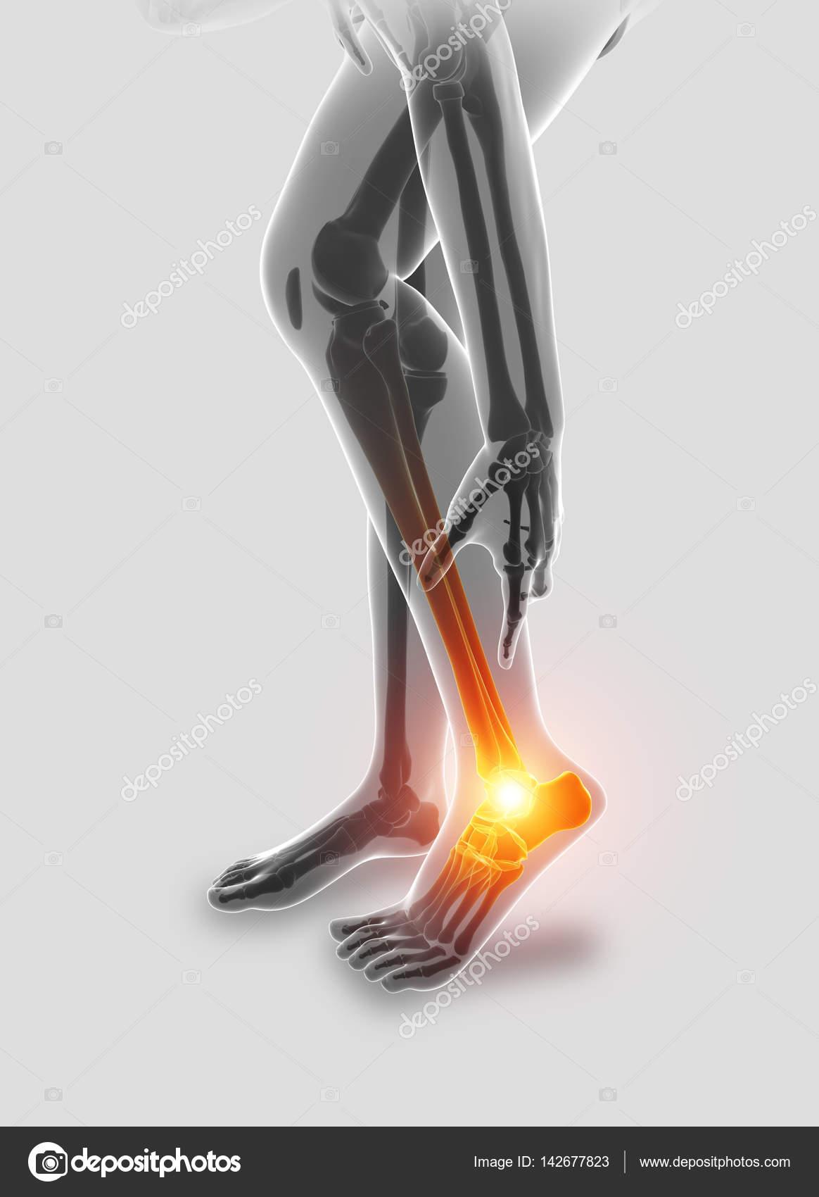 Ilustración 3D del hombre de pie con dolor en el tobillo — Fotos de ...