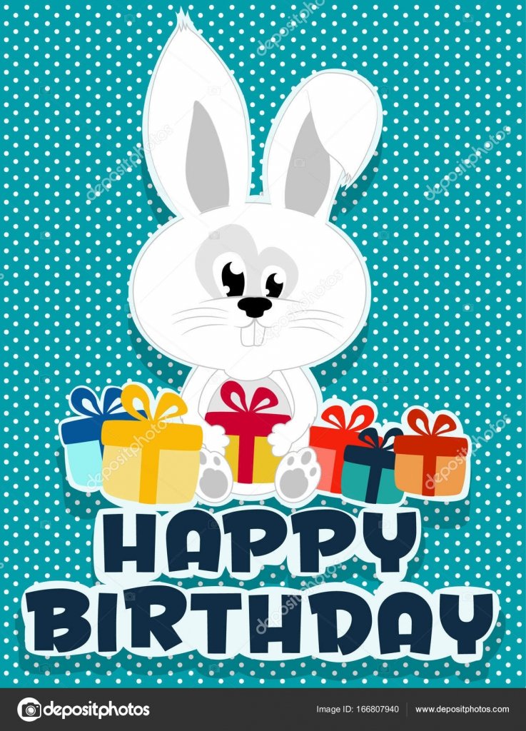 Birthday Card Illustrated Bunny And Gifts