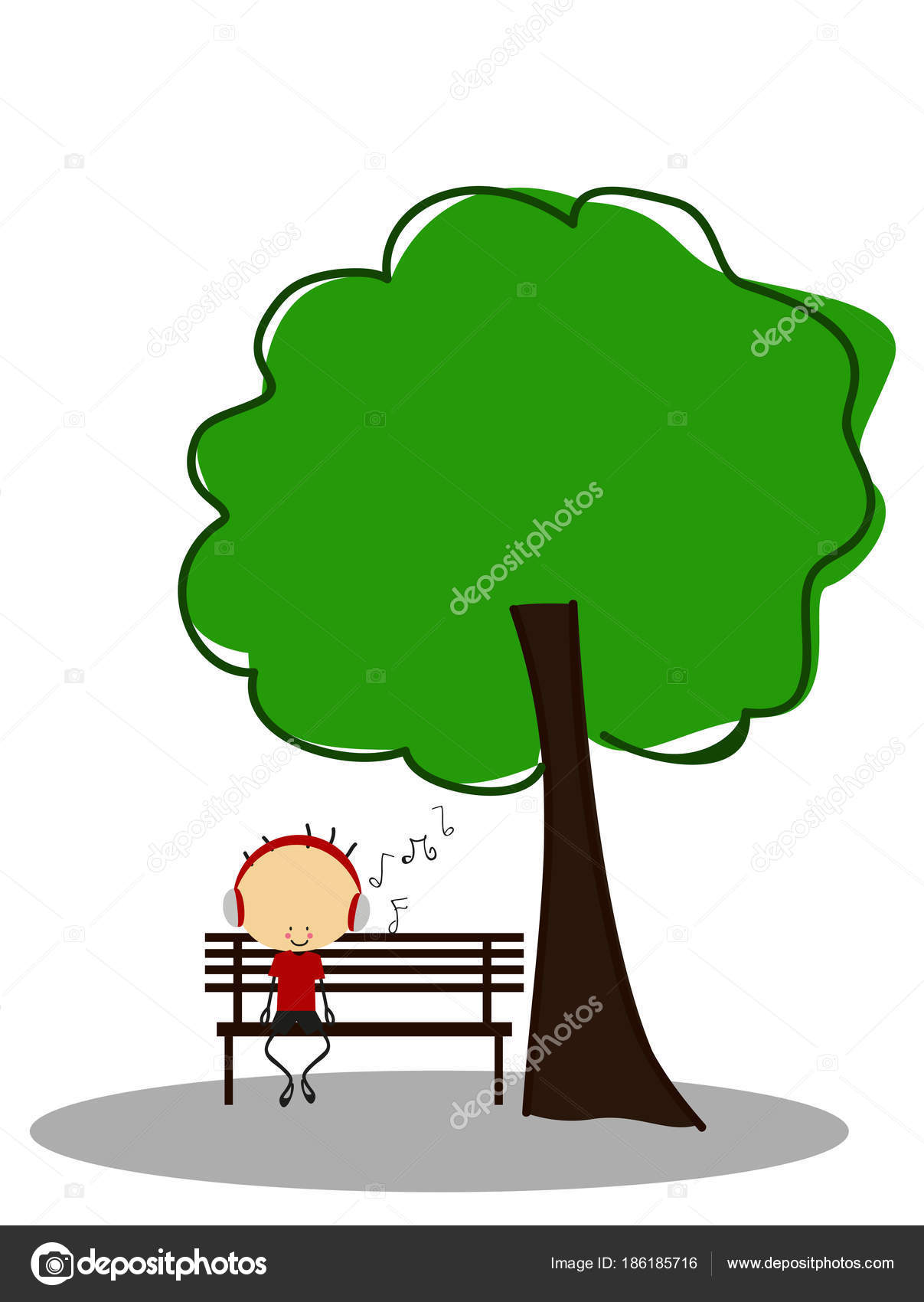 Doodle Boy Listen Music While Sitting Park Bench Tree Full — Stock ...