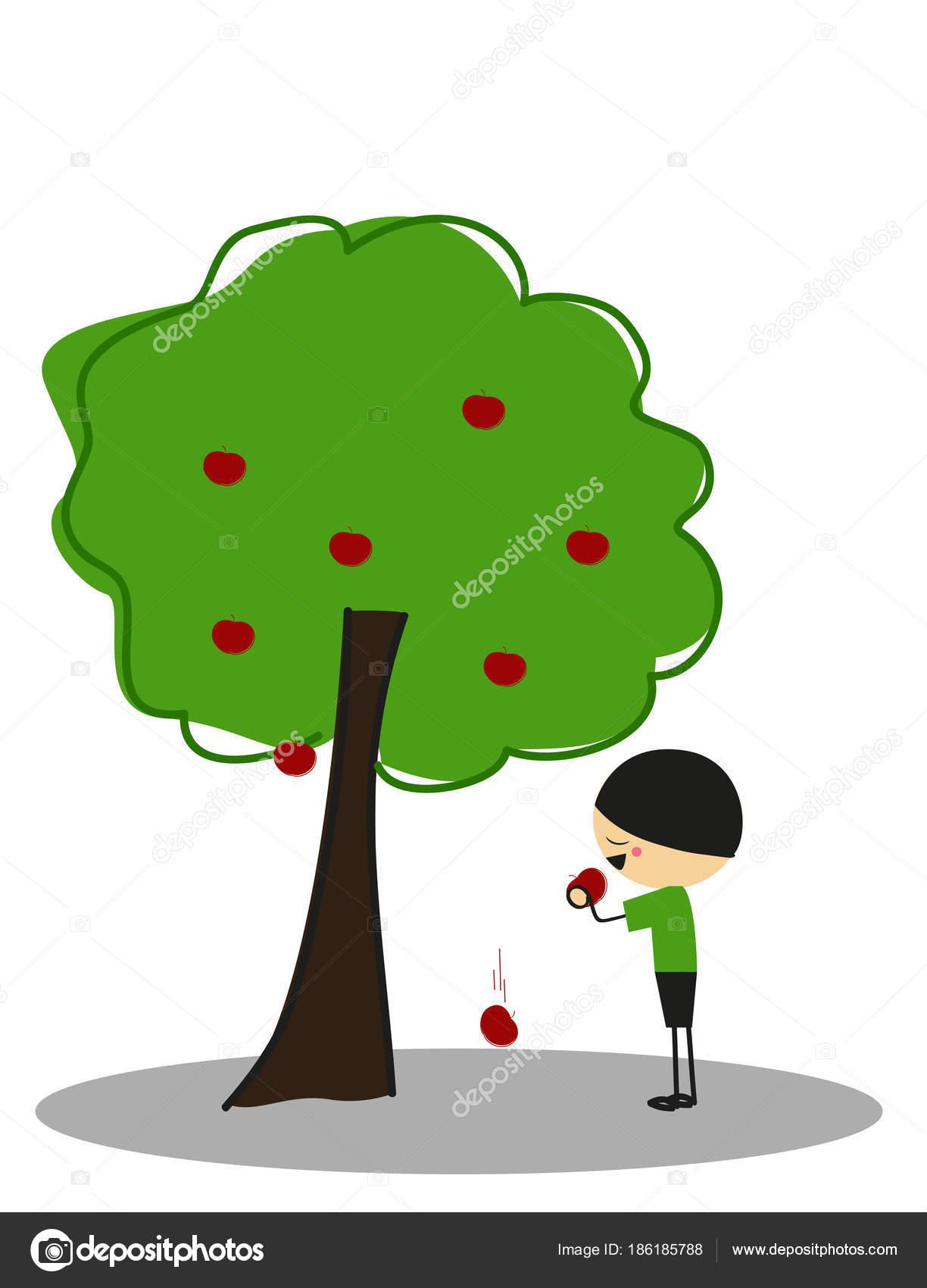 Little Boy Eating Apples Apple Tree Full Color — Stock Vector ...