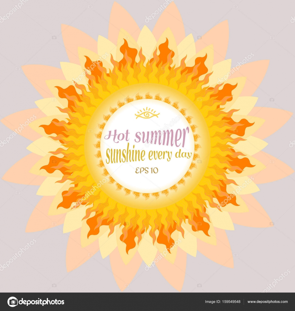 Vector illustration of summer sun. Background for summer camp or ...