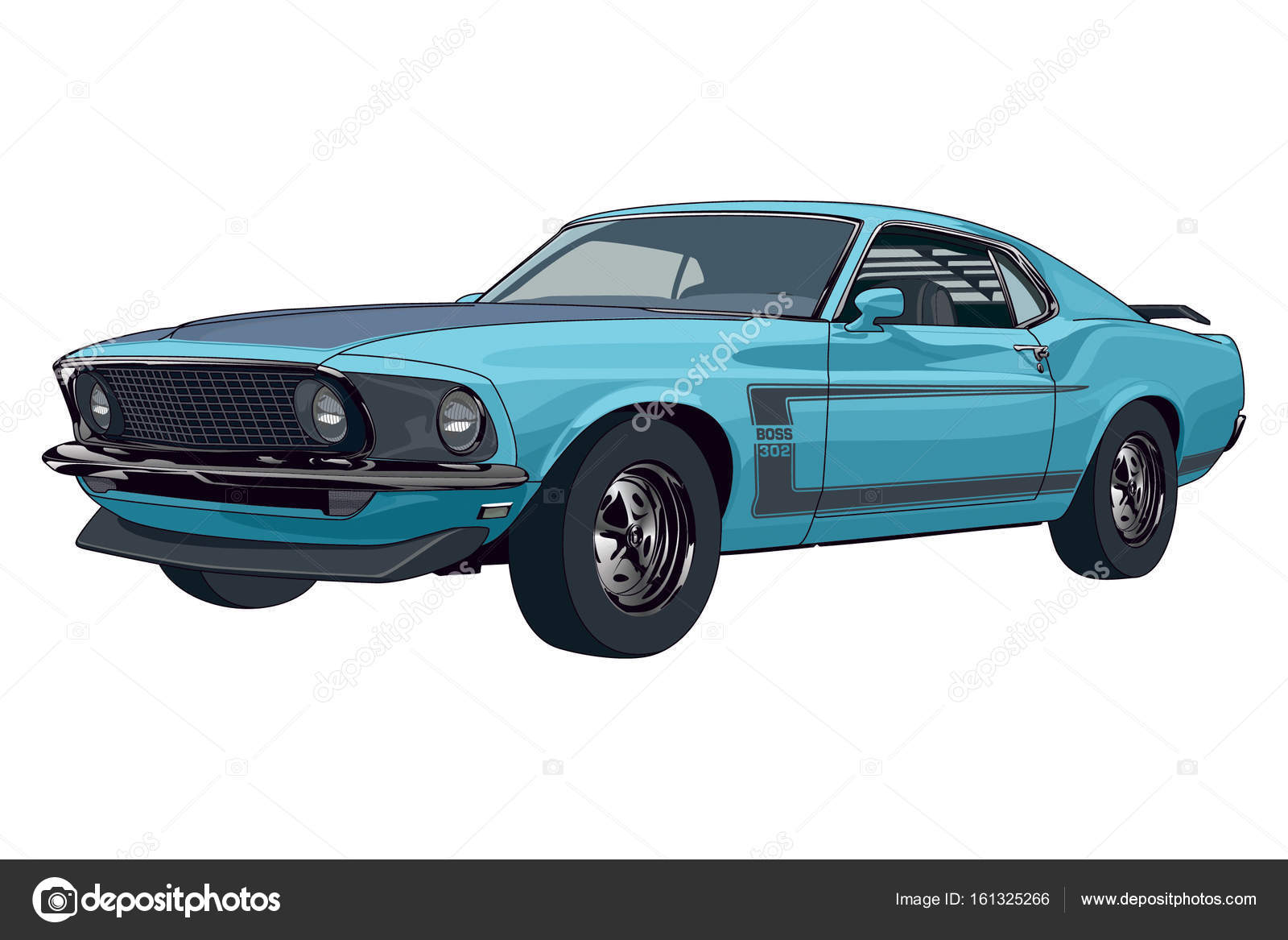 Classic Car Mustang Boss Stock Vector C Darjalvova 161325266