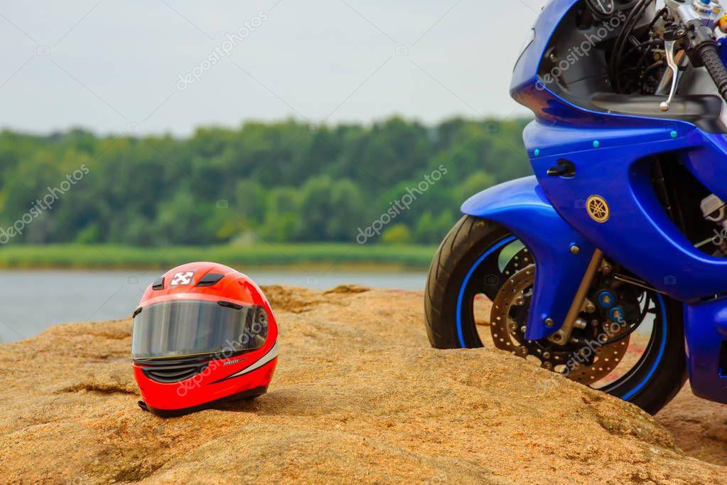 Vinnitsa, Ukraine - August 2017: Motorcycle blue Yamaha on a background of nature.