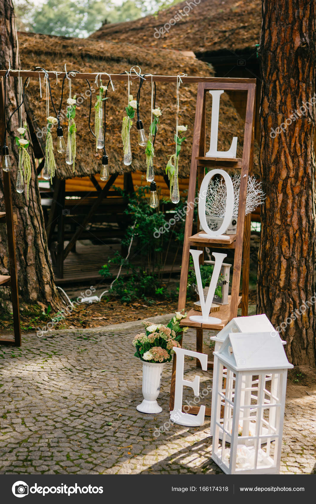 Wedding arch and decorations for rustic wedding ceremony stock wedding arch and decorations for rustic wedding ceremony stock photo junglespirit Image collections