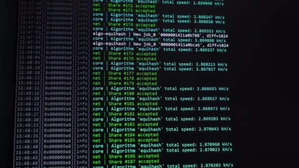 A kriptografikus kód képernyő. Cryptocurrency. Zöld digitals. Bányászati