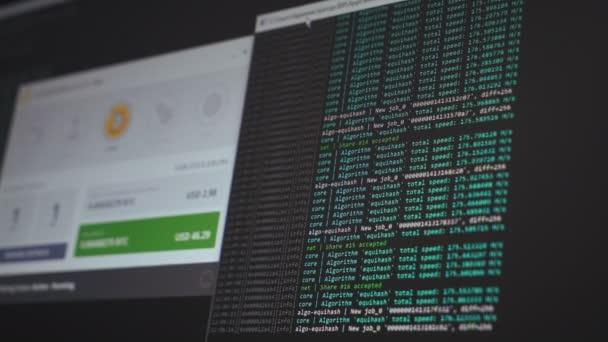 Schermo con codice crittografico. Codice di programma per data mining cryptocurrency, lavoro di data mining. Schermo con codice di sviluppatore di software. Cripto-moneta