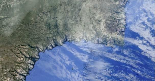 Hurrikan vom Weltraumsatelliten Erde Sturm Taifun Klima Wolkenwetter 4k