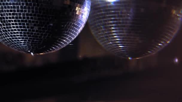 Noční zábavní průmysl. Close up view of reflection disco ball on party