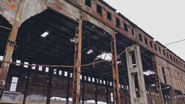 Opuštěné zničené průmyslové továrny, zříceniny a demoliční koncepce. Letecký pohled