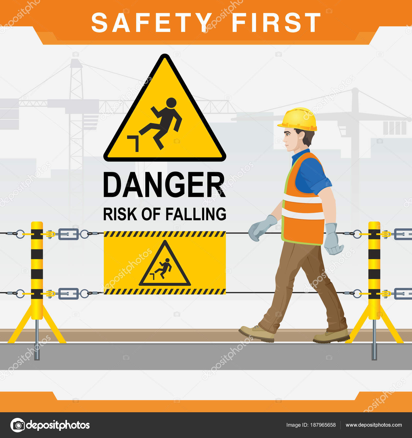 Safety Construction Site Safety First Danger Risk Falling