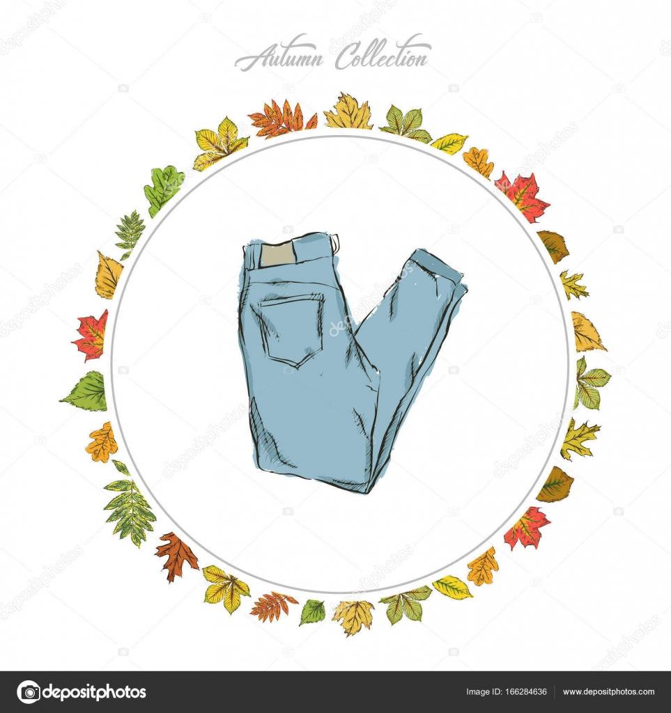Ziehen Sie Kleidung, Jeans, Hand. Herbst-Kollektion. Rahmen von ...