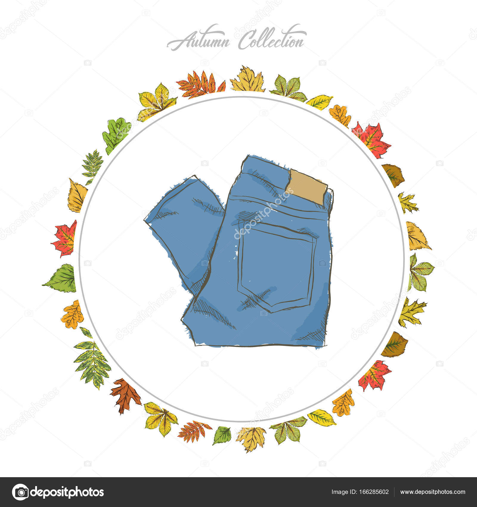 Jeans, Hand draw clothes. Autumn collection. Frame of autumn lea ...