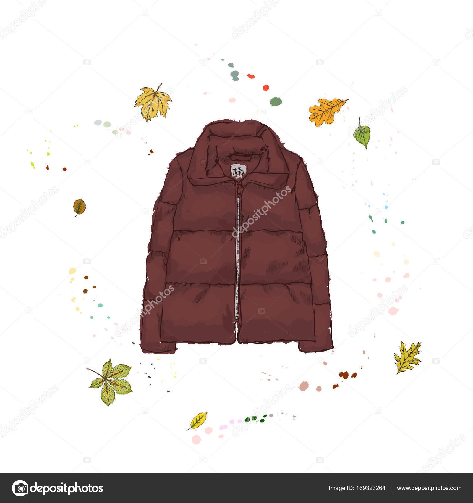 ダウン ジャケット ワインレッド色です秋の背景にアウター ストック