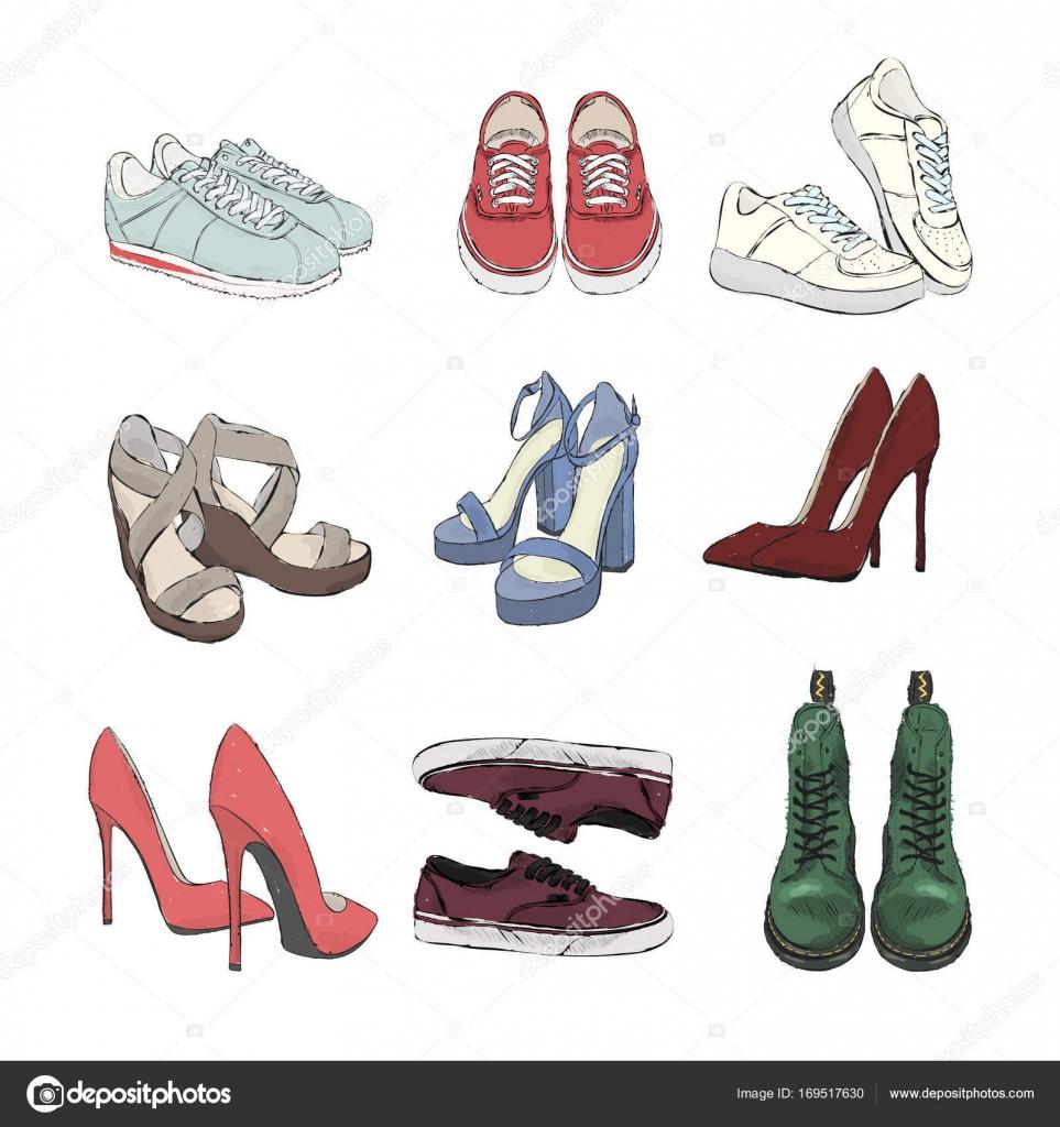 Eine Reihe Von Herbst Schuhe Sammlung Von Stilvollen Und Bunte