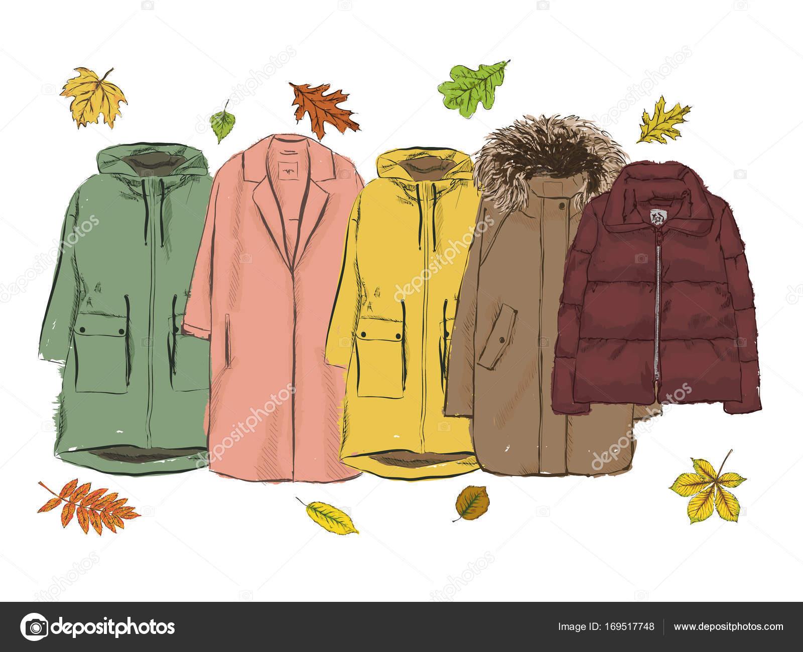 秋のアウターのセットコレクション ダウン ジャケットのレインコート