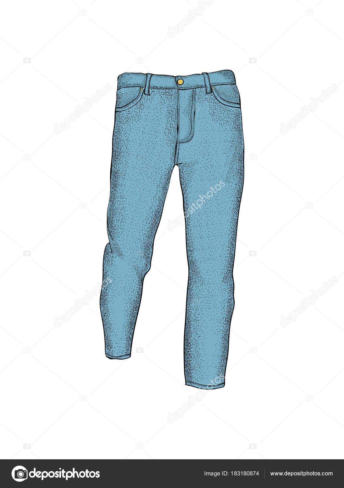 b5b99bc2a Plantillas en blanco de pantalones vaqueros de los hombres en vistas.  Aislado en blanco —