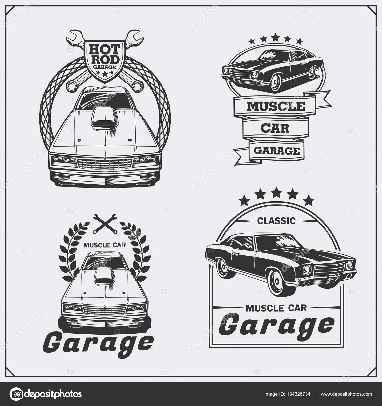 Collection of vintage muscle cars labels, badges and design elements ...