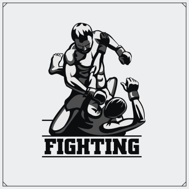 Fighters of martial mixed arts. Sport club emblem. Vector illustration.