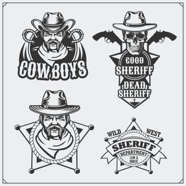 Wild west. Set of sheriff and cowboy vintage emblems, labels, badges and design elements.