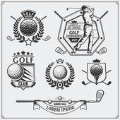 Fotografie Vintage Golf Etiketten, Abzeichen, Embleme und Designelemente. monochromes Design.